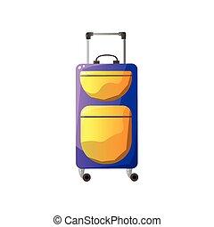 bagaglio, moderno, plastica, vettore, valigia, viaggiatore, illustratio, fatto rotare