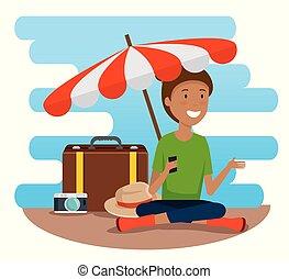bagaglio, viaggiare, donna, ombrello, turista