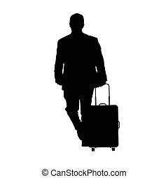 bagaglio, viaggiare, illustrazione, uomo