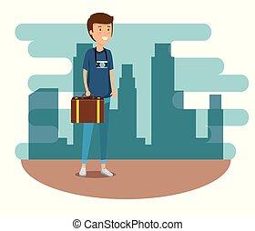 bagaglio, viaggiare, macchina fotografica, viaggio, uomo