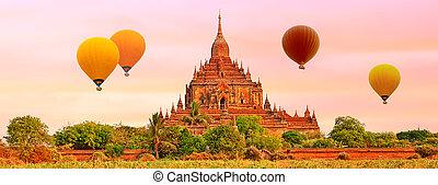 bagan., htilominlo, myanmar., tempio