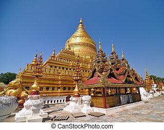 bagan, punto di riferimento, paya, pagoda, shwezigon