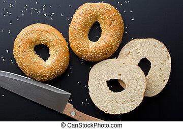 bagel, seme di sesamo, saporito