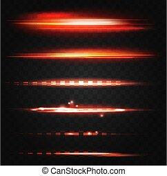 bagliore, linee, neon, set, rosso, ui, disegno, effetto, luce, illuminato, splendore, astratto, elementi