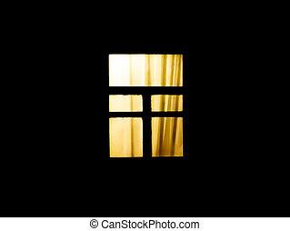 bagliori, casa, finestra, night., scuro