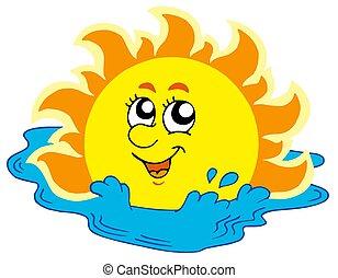 bagnarsi sole, cartone animato, mare