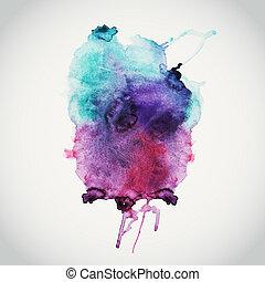 bagnato, album, spazio, vuoto, message., colori, fondo, illustrazione, vettore, mano, composizione, elementi, paper., disegnato, macchia, astratto, testo, acquarellature, acquarello