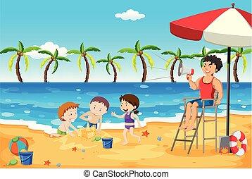 bagnino, bambini, spiaggia, badare