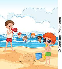 bagnino, secondo, spiaggia, sguardo, bambini