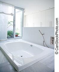 bagno, casa, moderno, cortile, lucernario, bianco, vasca bagno