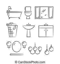 bagno, icone, mano, illuminazione, disegnato, linea, mobilia
