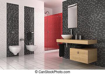 bagno, moderno, tegole, nero, bianco rosso