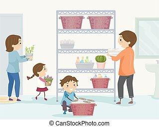 bagno, organizzare, stickman, famiglia, illustrazione