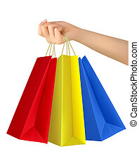 bags., femmina, colorito, titolo portafoglio mano, shopping, vector.
