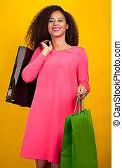bags., ragazza, shopping, giovane, attraente