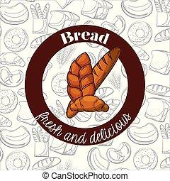 baguette, croissant, panetteria, vettore, disegno, bread