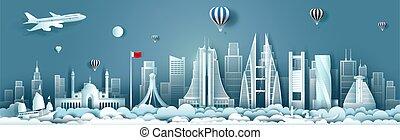 bahrain, vista, costruzione, panorama, orizzonte, architettura, viaggiare, skyscraper.