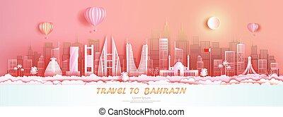 bahrain, vista, costruzione, panorama, orizzonte, viaggiare, architecture., grattacielo