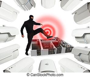 balaclava, appartamento, sorveglianza, ladro, esso, controllato, pronto, ma, svaligiare, cameras, video