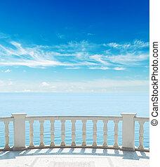 balcone, cielo, mare, nuvoloso, sotto