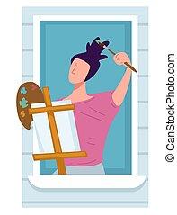 balcone, tela, artista, attività, quarantena, disegno