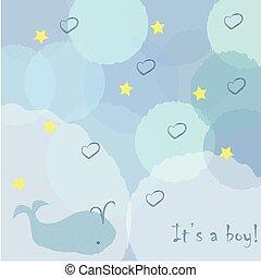 balena, announces, boy., nascita, invito, doccia, carino, ragazzo bambino, announcement., disegno, scheda, arrivo, card.