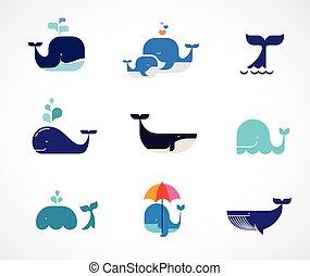 balena, vettore, collezione, icone