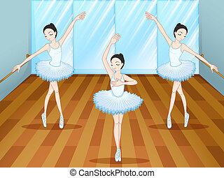 ballare ballet, dentro, ballerini, tre, studio