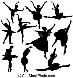 ballerina, silhouette, balletto