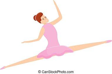 ballerina, stile, cartone animato, ragazza, icona
