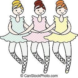 ballerine, bambola, cigno, illustrazione, dance., tilda, piccolo, durante