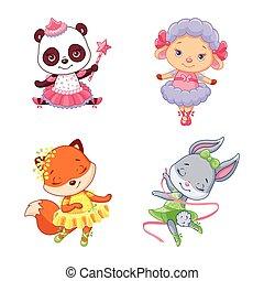 ballerine, poco, animali, set, cartone animato