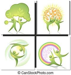 ballerini, verde, concetto, albero, eco-icon