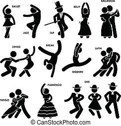 ballerino, ballo, pictogram