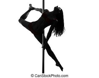 ballerino, donna, silhouette, polo