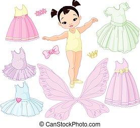 balletto, differente, fata, ragazza bambino, principessa, vestiti