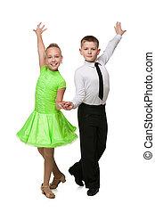 ballo, bambini, due