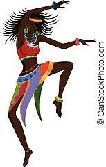 ballo, etnico, donna, africano