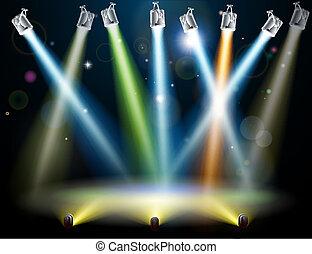 ballo, luci, pavimento, o, palcoscenico