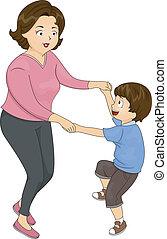ballo, madre, figlio
