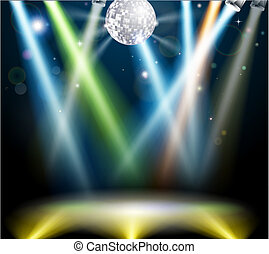 ballo, palla discoteca, pavimento