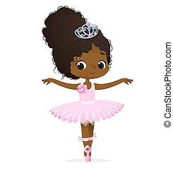 ballo, ragazza, carino, rosa, ballerina, africano, principessa