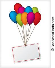 ballons, bianco, compleanno, editable, etichetta
