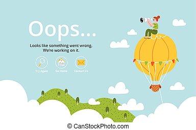 balloon, aria, caldo, oops, errore, pagina