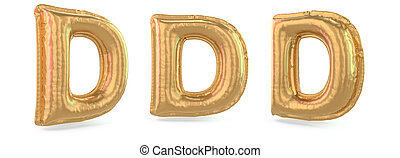 balloon, capitale, d., fondo., lettera, oro, 3d, uppercase., gonfiabile