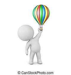balloon, carattere, aria, caldo, piccolo, 3d