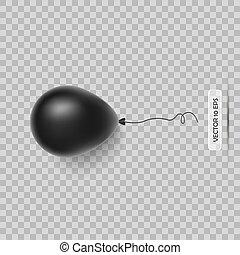 balloon., isolato, realistico, vettore, nero, white., icon., 3d