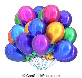 balloon, multicolor., decorazione, festa compleanno, palloni, mazzo