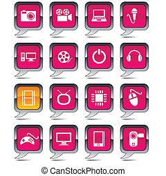 balloon, multimedia, icons.