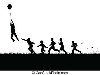 balloon, nero, sopra, bambini